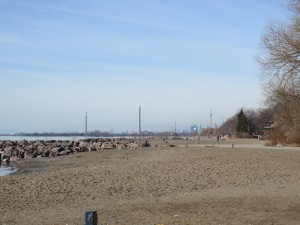 Kew Beach, eventually there was a boardwalk but we did some sand running too.
