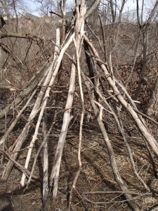 Geoff and I did find this cool teepee in the woods though.  Would love to know who built it and why.