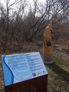 Very creative trail distance markers.